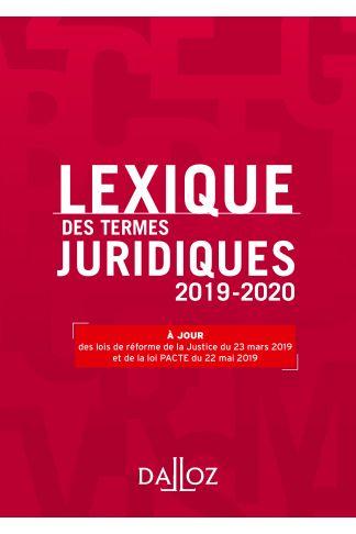 Lexique des termes juridiques 2019-2020