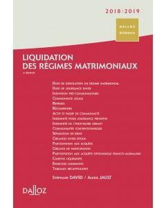 Liquidation des régimes matrimoniaux 2018/2019