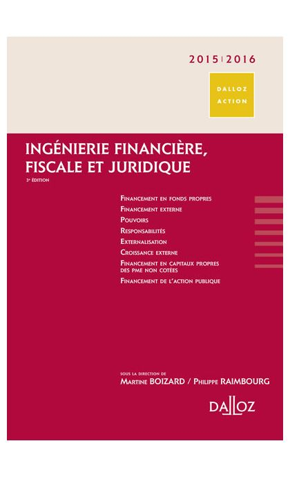Ingénierie financière, fiscale et juridique 2015/2016