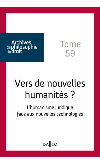 Vers de nouvelles humanités ? Tome 59
