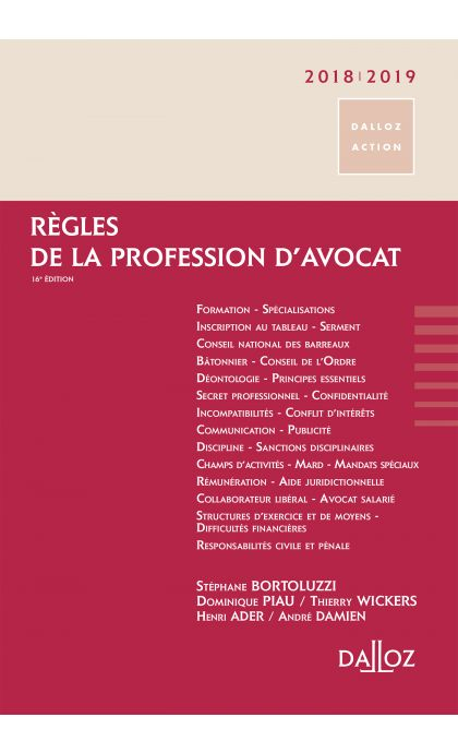 Règles de la profession d'avocat 2018/2019