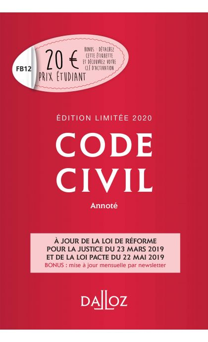Code civil 2020 annoté. Édition limitée