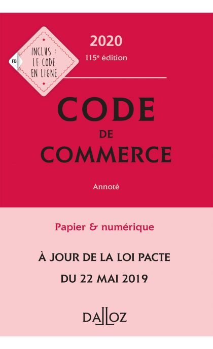 Code de commerce 2020, annoté