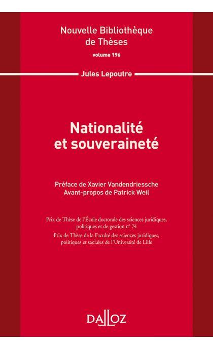 Nationalité et souveraineté. Volume 196