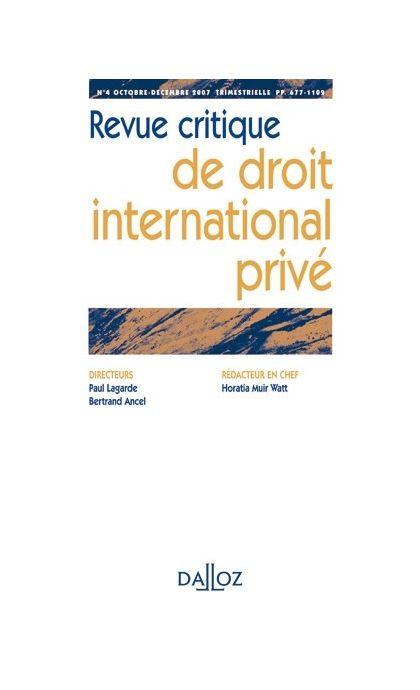 Revue critique de droit international privé (Abonnement 2021)